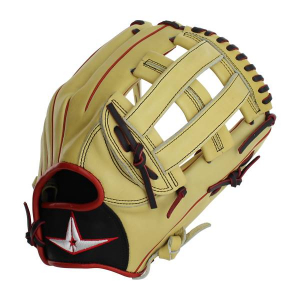 """YOUNG PRO SERIES 12"""" OUTFIELD H-WEB GLOVE-CREAM/SCARLET/BLACK"""