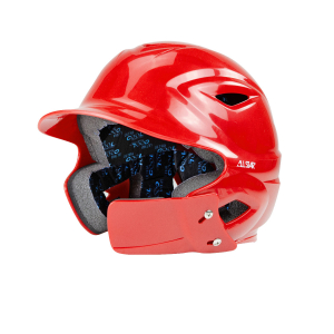 S7™ YOUTH BATTING HELMET W/ATTACHED JAWLINE™-Right Handed Batter-SCARLET